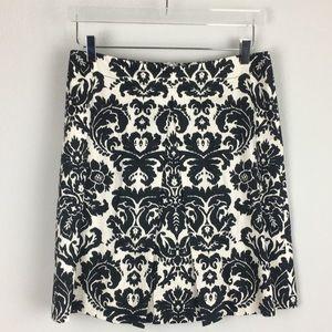 LOFT   Black White Print A-line Pleated Skirt   6